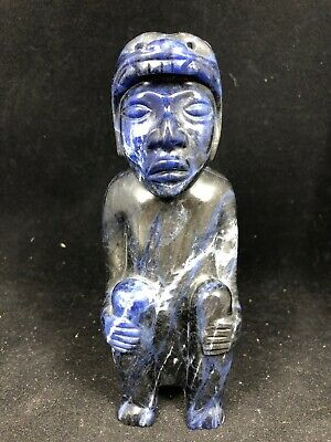 "5.5"" China Hongshan Culture old Blue jade carved Figurine With Bear Hat"
