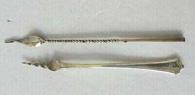 Antique pair sterling silver butter picks