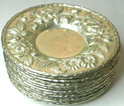"1 S.kirk Repousse Sterling 5 1/4"" 133A Hand Decorated Tray, Saucer, Plate Hv 12"