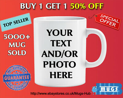 PERSONALISED PHOTO MUG CUSTOM MUG NAME GIFT DESIGN Christmas Birthday Valentines