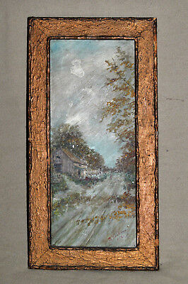 Antique D? ERIKSEN Charming Small Oil Painting On Tin c 1931 Signed Framed