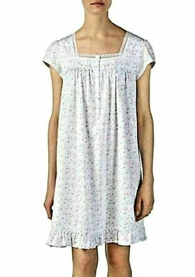 Eileen West White Floral Cap Sleeve 100% Cotton Knit Short Nightgown Gown L