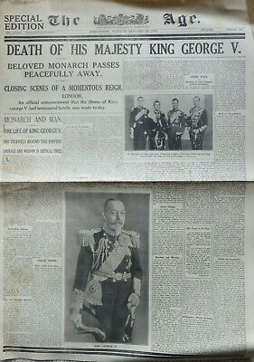 THE AGE (Melb) Special Edn: 21/1/36 Death of George V (complete) + Part ARGUS