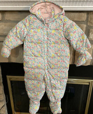 NWT Baby👶Gap Down Filled Floral Winter Snowsuit W/ Mittens& Booties 12-18mo $88