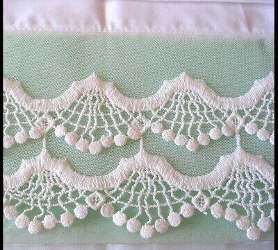 New Embroidered Lace PillowCase White Cotton Sateen Standard Queen King One M6#