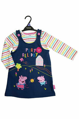 Girls Peppa Pig Denim Pinafore outfit cotton long sleeve top set 12months-5years