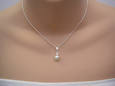 15f Dainty Pearl & Crystal Necklace Bridal Bridesmaid Flower girl Ladies Childs