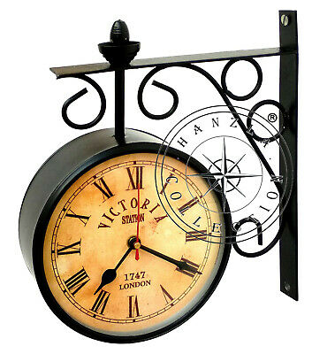 Victoria Station Antique Brass Double Sided Railway Clock Nautical Wall Decor