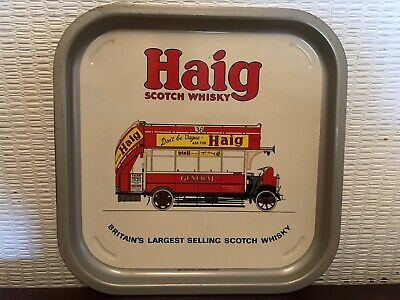 Vintage Haig Scotch Whisky Metal Drinks Tray Red London Double Decker Bus