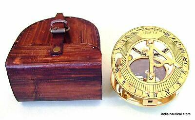 Brass Antique Handmade Nautical Sundial Compass Come with Leather Case