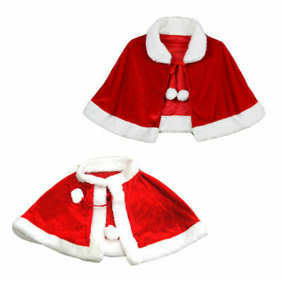 Red Velvet Cape Cloak Christmas Shawl Cosplay Party Costumes Dress Adult/Kids UK
