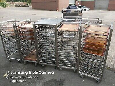 Mobile Stainless Bakery Cooling Rack, 10 Tier, With Wire Trays