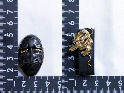 Japanese Brass Iron Fuchi Kashira Fuchikashira Sword Antique Look Gold Tengu