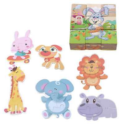 Baby Kids Toddler Wooden Puzzle Wisdom Jigsaw Cartoon Animal Early Learning Toys