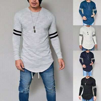Mens Striped Long Sleeve T Shirt Casual Muscle Tee Tops Slim Fit Shirt Blouse