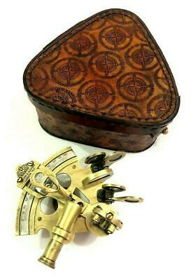 "3"" Antique Nautical Maritime Sextant Astrolabe with Leather Cover"