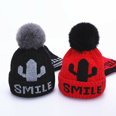 Children's Cactus Knitted Hats Winter Warm Pompom Hat Scarf Skullies Beanies Cap