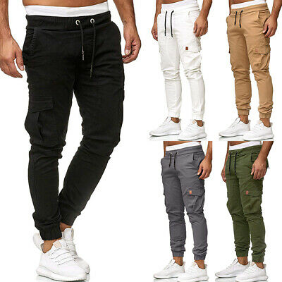 Mens Elasticated Waist Cargo Work Trousers Slim Fit Casual Pocket Bottoms Pants