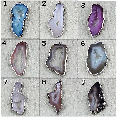 Multi Color Natural Geode Slice Druzy Black Rhodium Plated Pendant DIY Connector