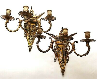 Pair gilt brass wall candle sconces, 3 arm ormolu decorative lights Gothic style