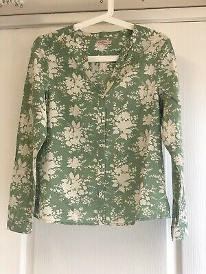 Cath Kidston Ladies Long Sleeve Top Shirt Green Floral Size 8 100% Cotton VGC