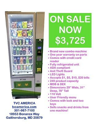 Combo Vending Machine with Credit Card Reader installed (NAYAX)
