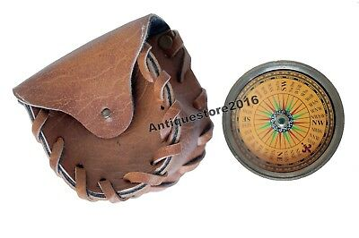 Antique Brass Flat Compass Marine Vintage Replica Ships With Leather Case Gift.