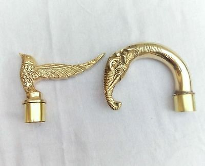 Nautical Brass Walking Stick Designer Handles Combo Eagle and Elephant Head Item