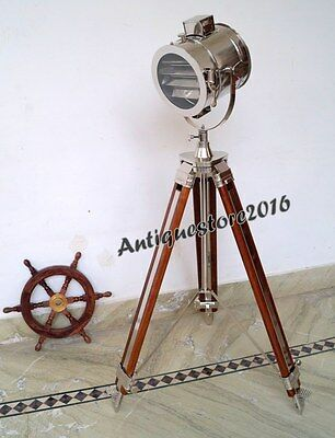 HOLLYWOOD SPOTLIGHT STUDIO Floor Lamp With Wooden Tripod Stand Christmas Decor - £117.00   PicClick UK
