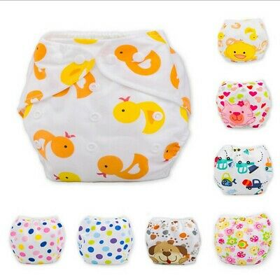 Cute Infant Kids Newborn Baby Nappy Reusable Adjustable Washable Cloth Diapers