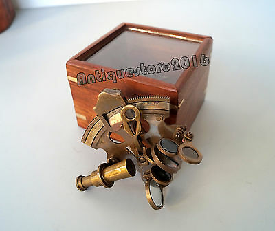 Astrolabe Antique Brass Sextant W/ Wooden Box Collectible Marine Nautical Gift