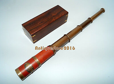 Nautical Navy Kelvin & Hughes London 1917 Telescope With Brown Wooden Box Gift