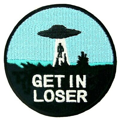 EMBROIDERED Iron On Patches appliques transfers Biker Patch Badges Get In Loser