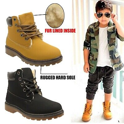 Girls Boys Kids Ankle Boots Fur Lined Grip Sole Army Combat Winter Snow Shoes