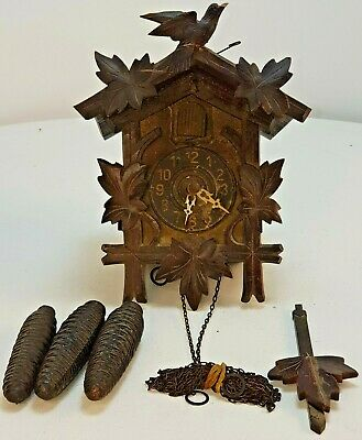 Antique Black Forest Cuckoo Clock Complete Untested Spares / Repair FREE UK P&P