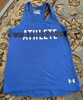 Girls Under Armour Fitted Athletic Lightweight Tank Top Shirt Youth Medium BLUE