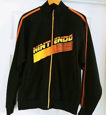 Nintendo Official Track Jacket Full Zip Retro Black Orange Yellow Gamer 2005 Med