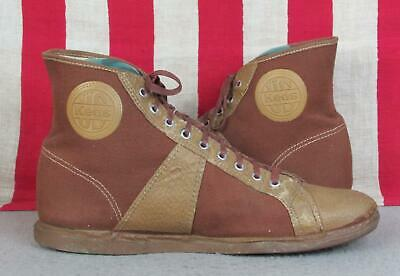 Vintage 1930s US Keds Canvas Basketball Sneakers Brown/Tan Gym Shoes Sz.9 Rare