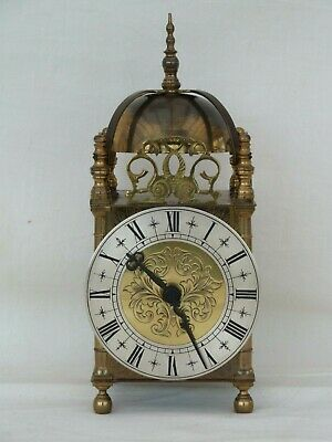 "V Good Quality Lantern Solid Brass Bell Strike Mantle Carriage Clock 10"" High."