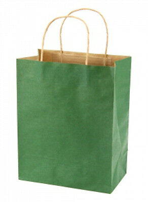 Hunter Green Kraft Medium Shopping Bags in 8 x 4.5 x 10.25 Inches - Case of 100