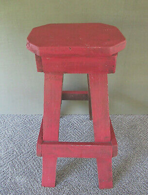 "Antique Stool Stand Vintage Primitive Splayed Legs Wood, 24"" Tall, Old Red Paint"