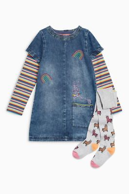 BNWT Next Girls Llama & Rainbow Denim Dress Top & Tights Age 2-3 Years