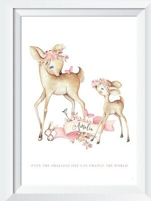 Personalised baby girl bambi print picture nursery walldecor christening gift