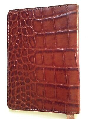 RAIKA Croc Embossed Brown Book Or Note Pad Cover NWT