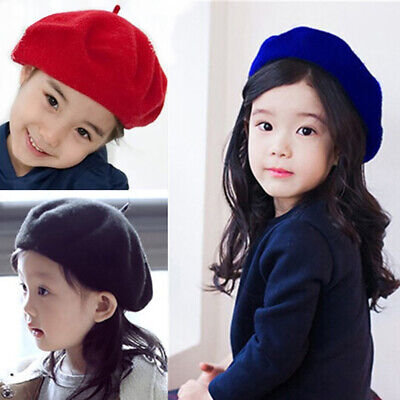 Child Kids Girls Plain Warm Winter Beret French Artist Beanie Hat Ski Cap Sweet
