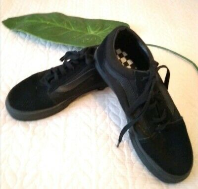 """Vans """"Off The Wall"""" Unisex Girls Boys Black Suede Lace Up Trainer Shoes S 3 NWOT"""