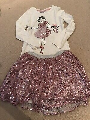 Girls Ballerina Top and Sparkly Skirt Set Vgc 10 Years