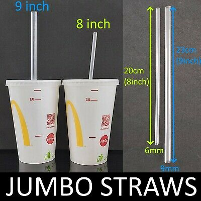 10-600 Clear Thick Jumbo Milkshake 8-9Inch Long Straws Smoothie Cocktail Drinks