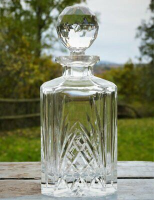 Quality crystal cut glass Whisky decanter facet golf ball stopper