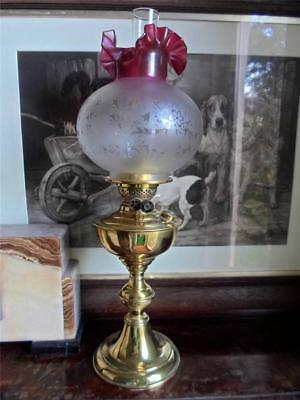 Early 20th Century Brass Duplex Oil Lamp with Acid Etched Glass Shade